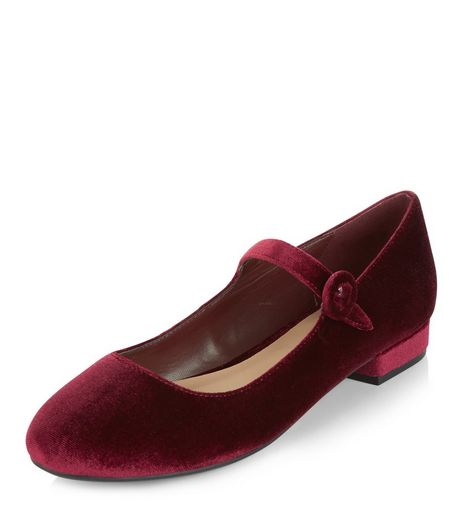 Dark Red Velvet Strap Front Pumps  | New Look
