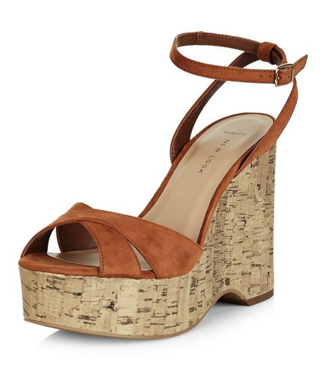 Wide Fit Tan Suedette Espadrille Wedge Sandals  | New Look