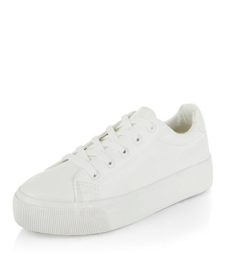 White Leather-Look Lace Up Plimsolls | New Look