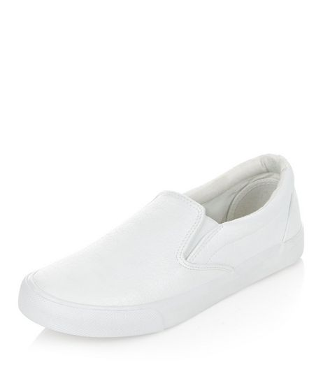 White Croc Texture Slip On Plimsolls | New Look