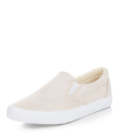 Pink Croc Texture Slip On Plimsolls  | New Look