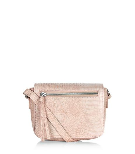 Cream Snakeskin Texture Across Body Bag | New Look
