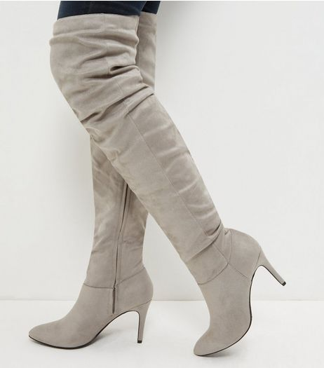 Grey Suedette Ruched Pointed Over The Knee Boots  | New Look