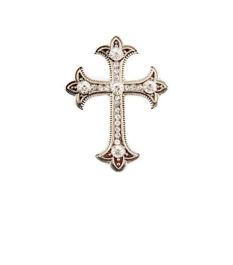 Silver Diamante Cross Brooch | New Look