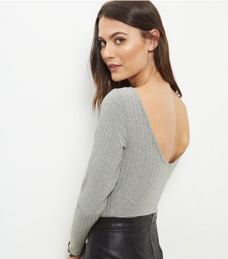 Grey Ribbed Scoop Back Bodysuit | New Look