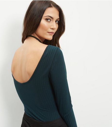 Dark Green Ribbed Scoop Back Bodysuit  | New Look
