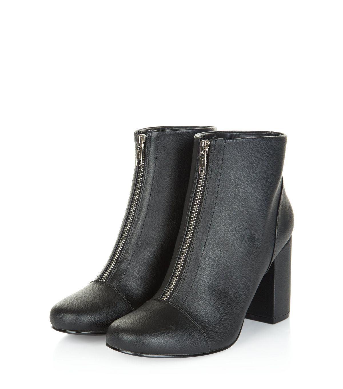 Black Zip Front Block Heel Ankle Boots | New Look