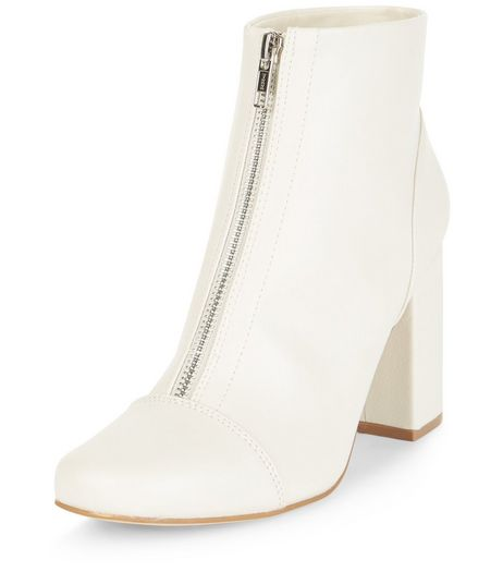 Cream Zip Front Block Heel Ankle Boots | New Look