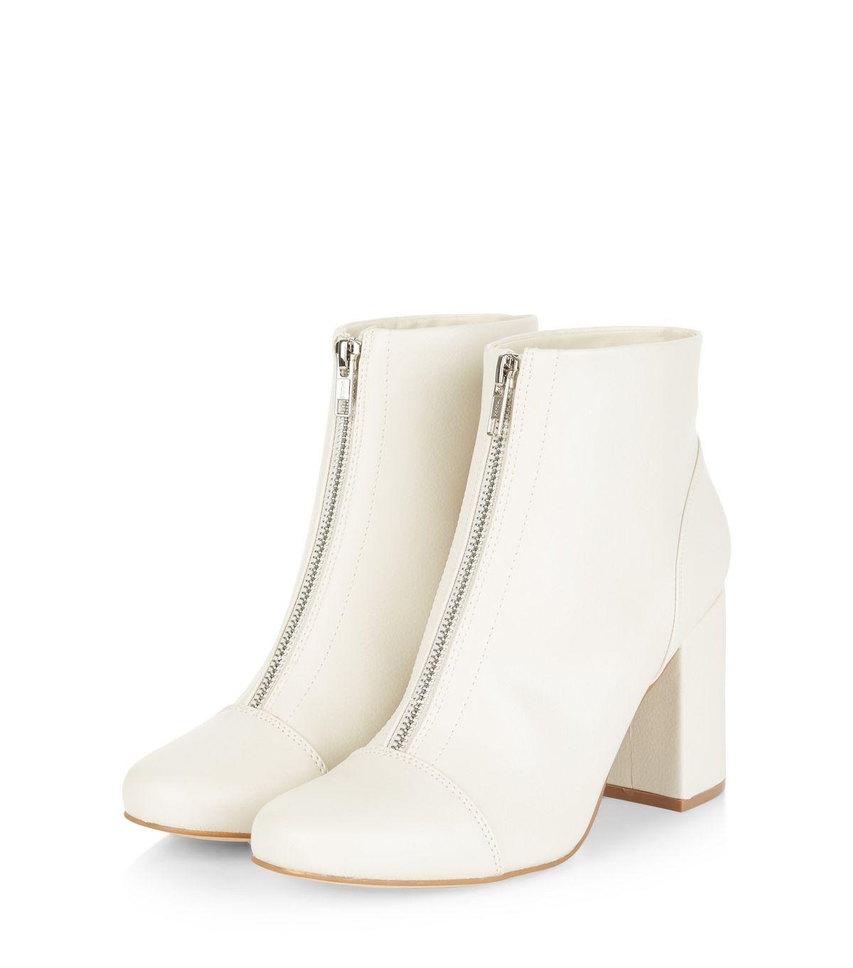 Cream Zip Front Block Heel Ankle Boots | New Look