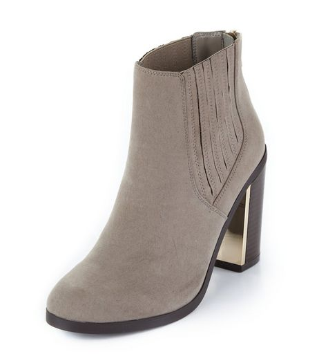 Grey Metal Trim Block Heel Chelsea Boots  | New Look