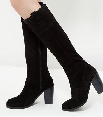 black-suede-block-heel-knee-high-boots