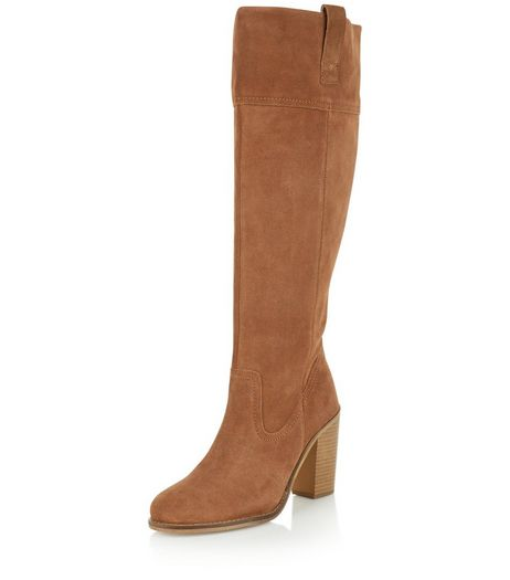 Tan Suede Block Heel Knee High Boots  | New Look