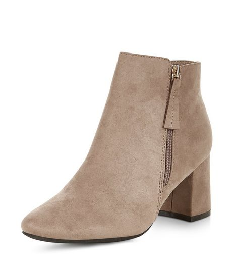 Grey Suedette Flared Heel Ankle Boots  | New Look
