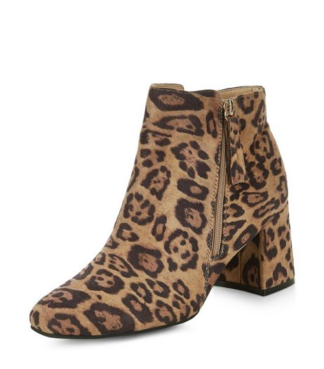 Stone Leopard Print Suedette Flared Heel Ankle Boots  | New Look