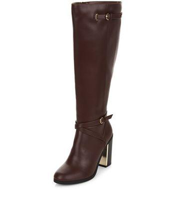 Red Metal Trim Block Heel Knee High Boots