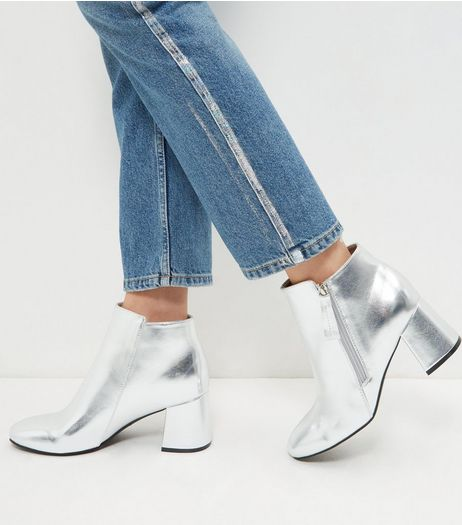 Silver Metallic Flared Heel Ankle Boots | New Look
