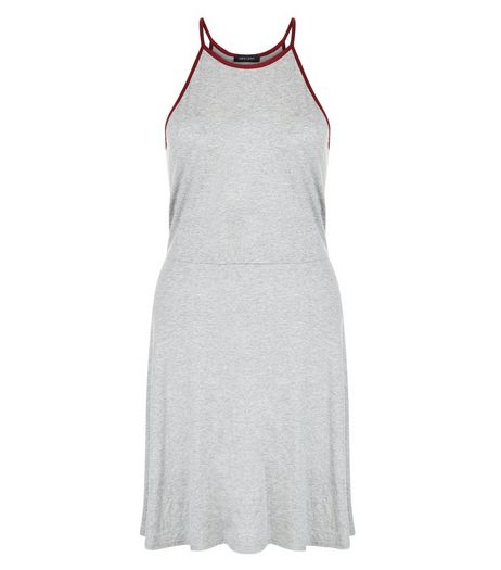 Light Grey Contrast Trim Skater Dress  | New Look