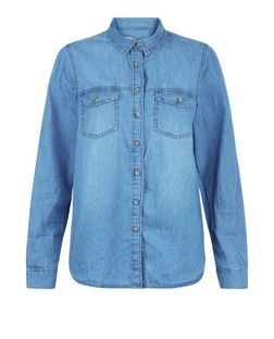 Blue Freedom Slogan Denim Shirt  | New Look