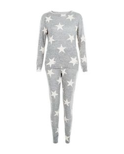 QED Grey Star Print Top and Jogger Set | New Look