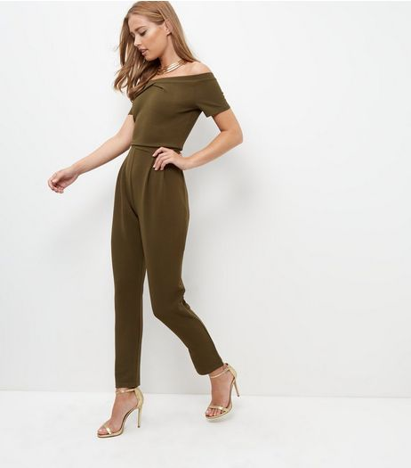 Cameo Rose Khaki Bardot Neck Jumpsuit  | New Look