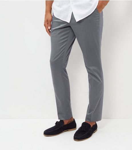 Grey Smart Sateen Skinny Trousers | New Look