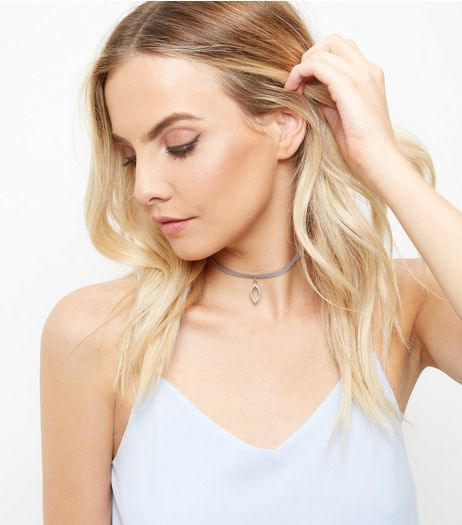 Crystal Oval Drop Choker  | New Look