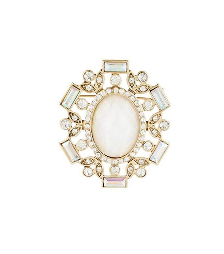 Crystal Iridescent Stone Diamante Brooch | New Look