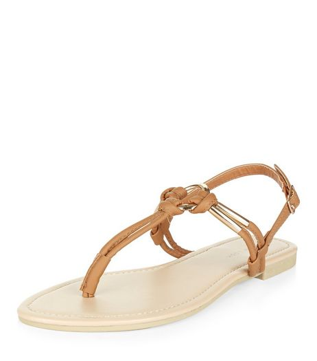 Tan Metal Trim T-Bar Strap Sandals  | New Look