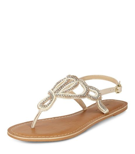 Cream Leather Beaded Sandals  | New Look