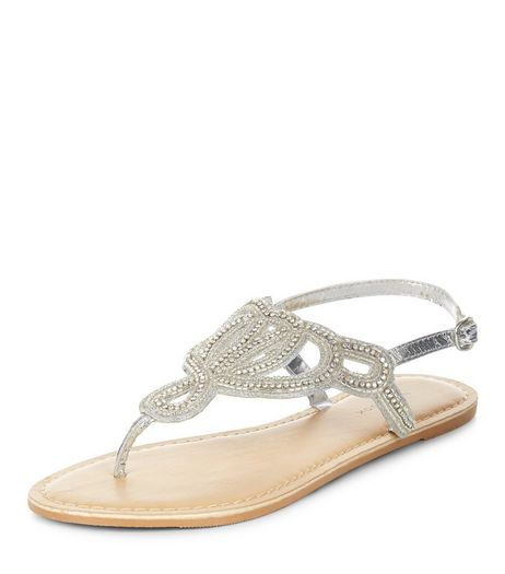 Silver Leather Beaded Sandals  | New Look