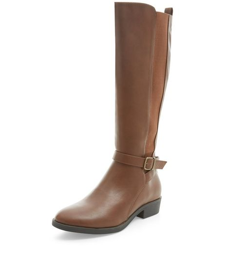 Tan Strap Front Elasticated Panel Knee High Boots  | New Look
