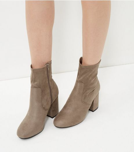 Grey Suedette Block Heel High Ankle Boots  | New Look