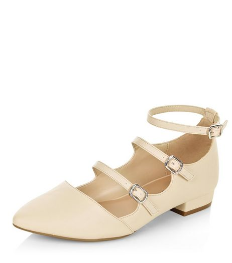 Cream Triple Strap Pointed Pumps | New Look
