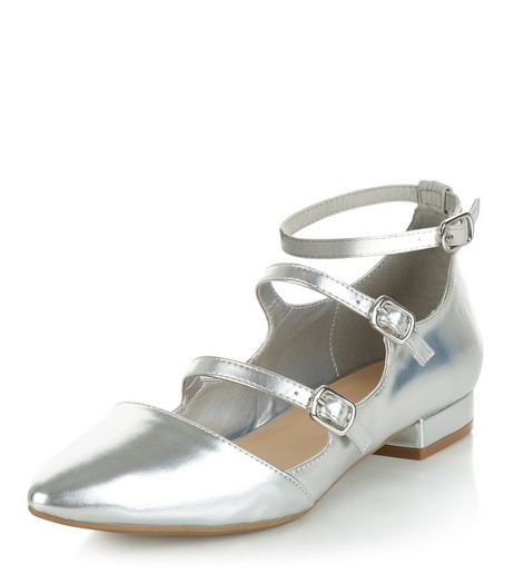Silver Triple Strap Pointed Pumps | New Look