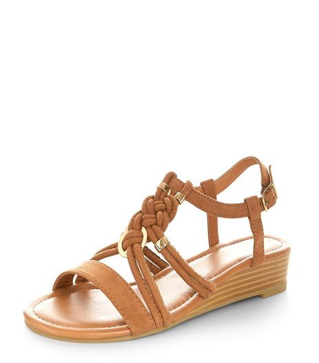 Tan Plaited Strap Wedge Sandals | New Look