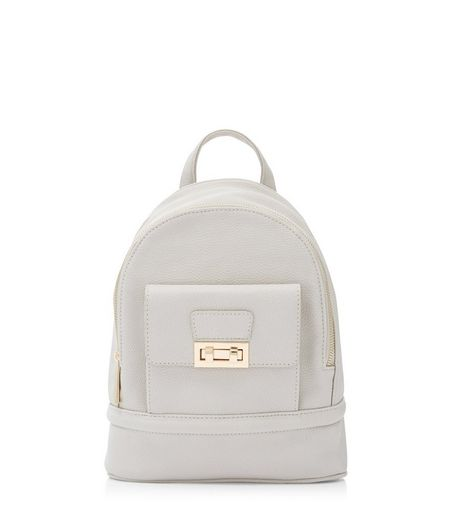 Grey Twist Lock Mini Backpack | New Look