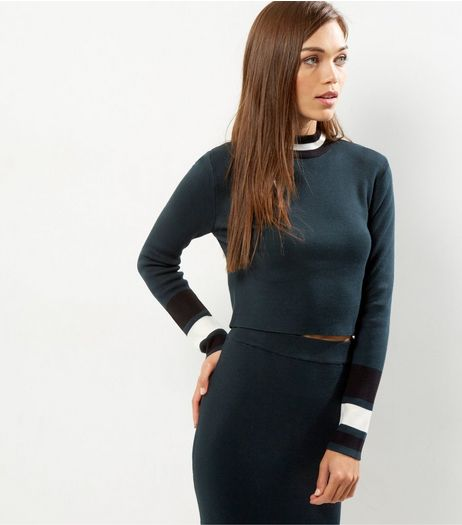 Dark Green Contrast Stripe Trim Jumper  | New Look