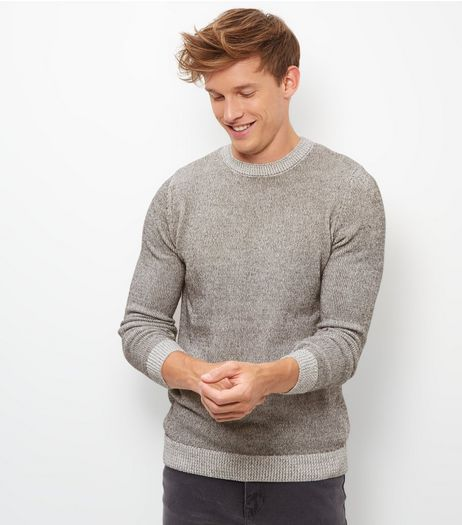 Grey Contrast Hem Knit Jumper  | New Look