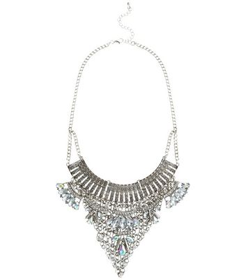 Silver Diamante Bib Necklace