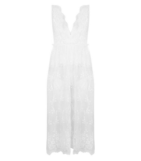 White Sheer Lace Midi Dress | New Look