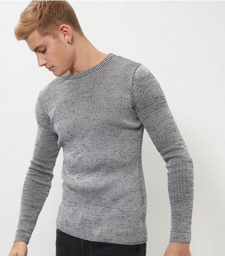 Grey Ribbed Space Dye Jumper  | New Look