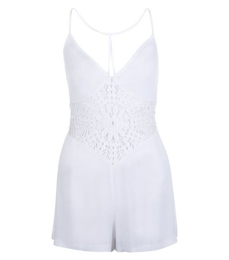 White Crochet Panel V Neck Playsuit | New Look