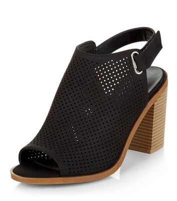 Sandalo  donna Wide Fit Black Laser Cut Out Sling Back Block Heels
