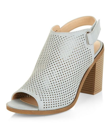 Wide Fit Grey Laser Cut Out Sling Back Block Heels  | New Look