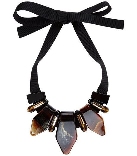 Brown Stone Ribbon Necklace | New Look