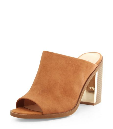Wide Fit Tan Metal Trim Leather-Look Mules | New Look