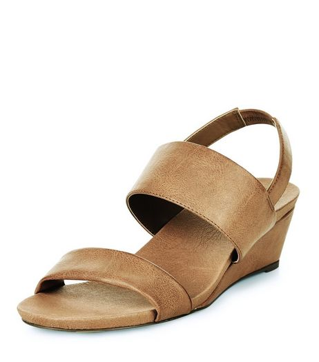 Wide Fit Tan Strappy Wedge Sandals  | New Look