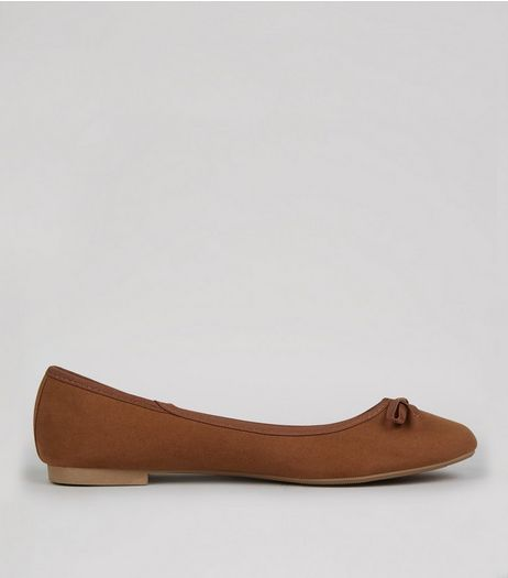 Wide Fit Dark Tan Suedette Ballet Pump | New Look