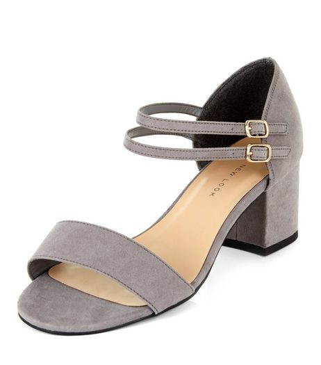 Wide Fit Grey Suedette Ankle Strap Block Heels | New Look