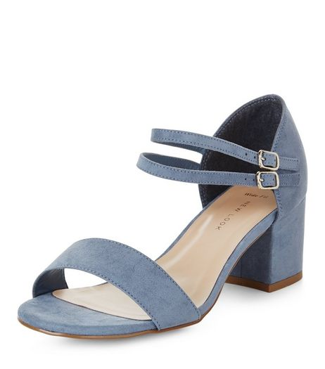 Wide Fit Blue Suedette Ankle Strap Block Heels | New Look